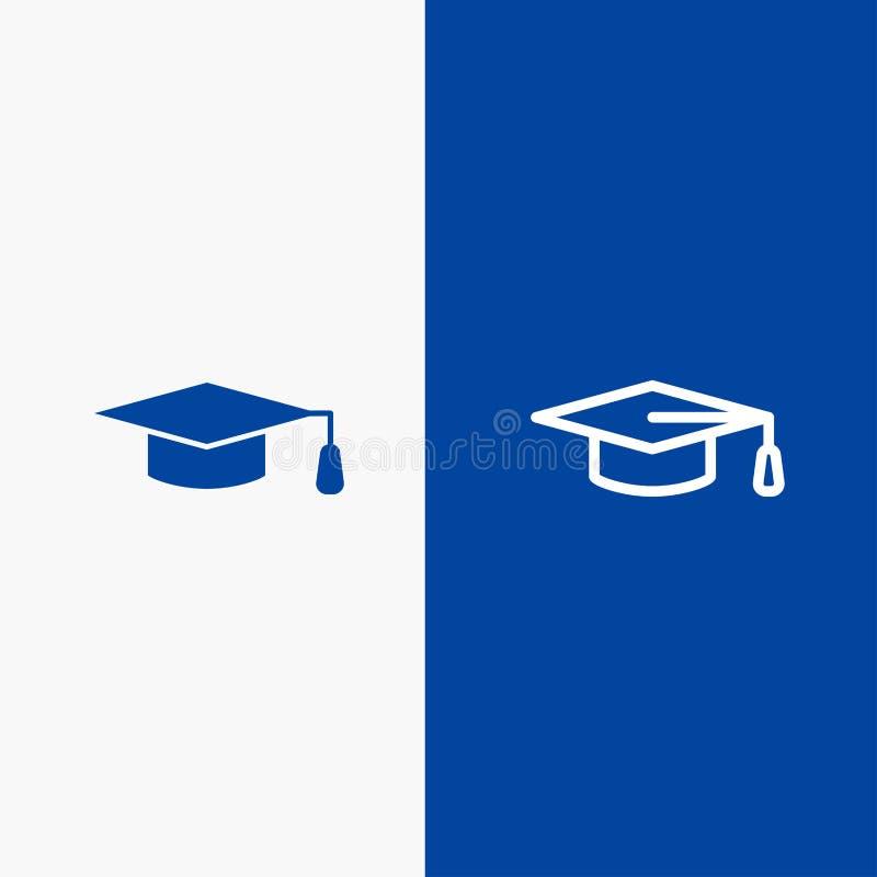 Naukowa, edukacji, skalowania kapeluszu linii, sztandaru glifu ikony i linii Błękitnej ikony błękita Stały sztandar ilustracji