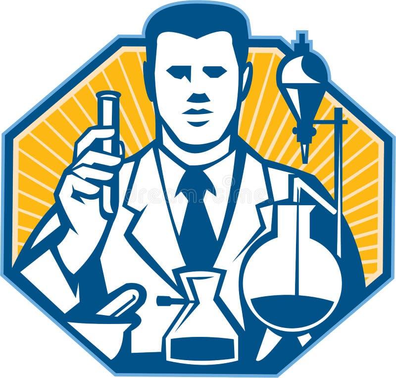 Naukowa Lab badacza chemik Retro royalty ilustracja