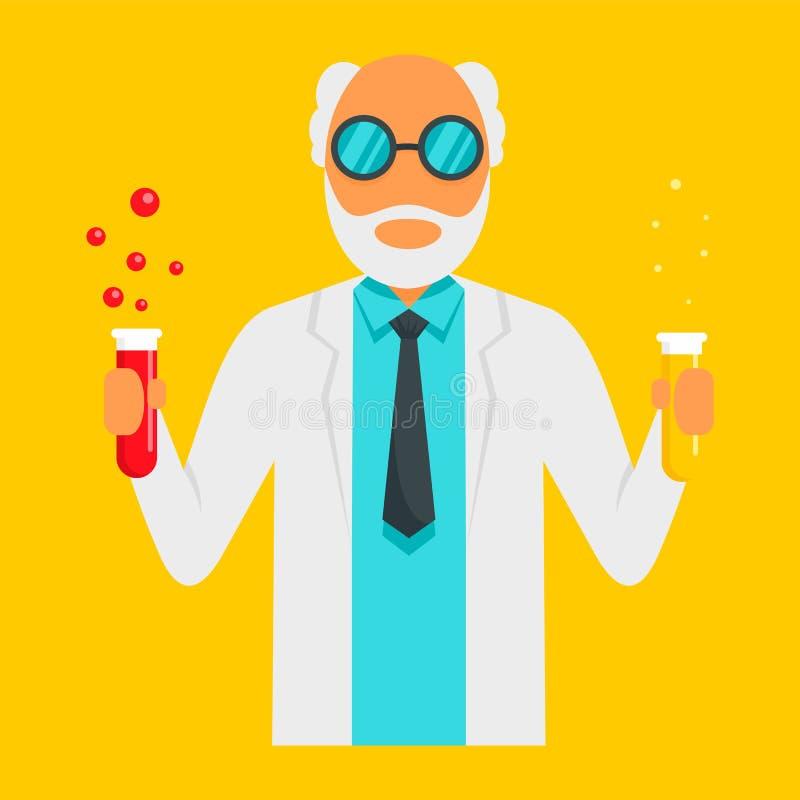 Naukowa mężczyzna ikona, mieszkanie styl ilustracji