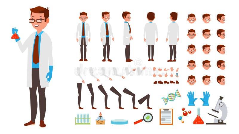 Naukowa mężczyzna wektor animowany charakteru tworzenia set Pełna długość, przód, strona, Tylny widok, akcesoria, pozy, twarz ilustracja wektor