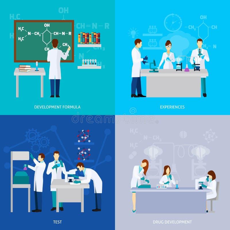 Naukowa mieszkania set ilustracja wektor
