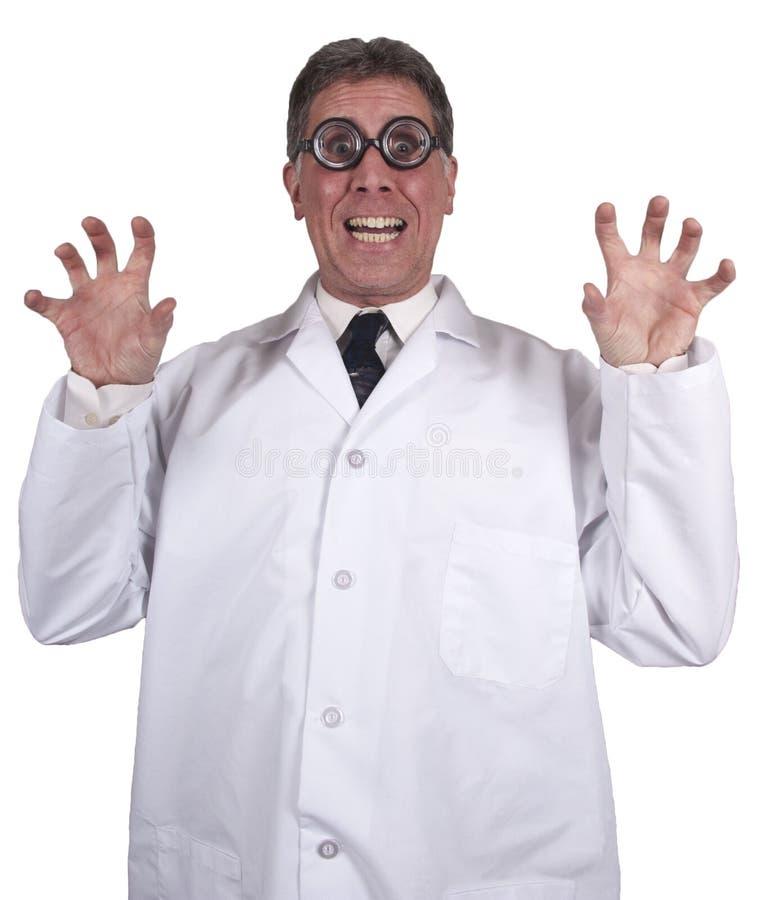 naukowa szalony doktorski śmieszny odosobniony szalenie biel obrazy stock