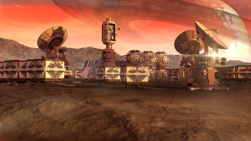 Naukowa ugoda na Mars jak planeta ilustracja wektor