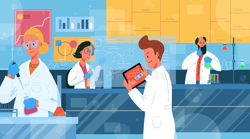Naukowcy z laboratorium przeprowadzający testy ilustracji