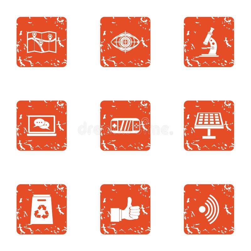 Naukowe poznawanie ikony ustawiać, grunge styl ilustracji