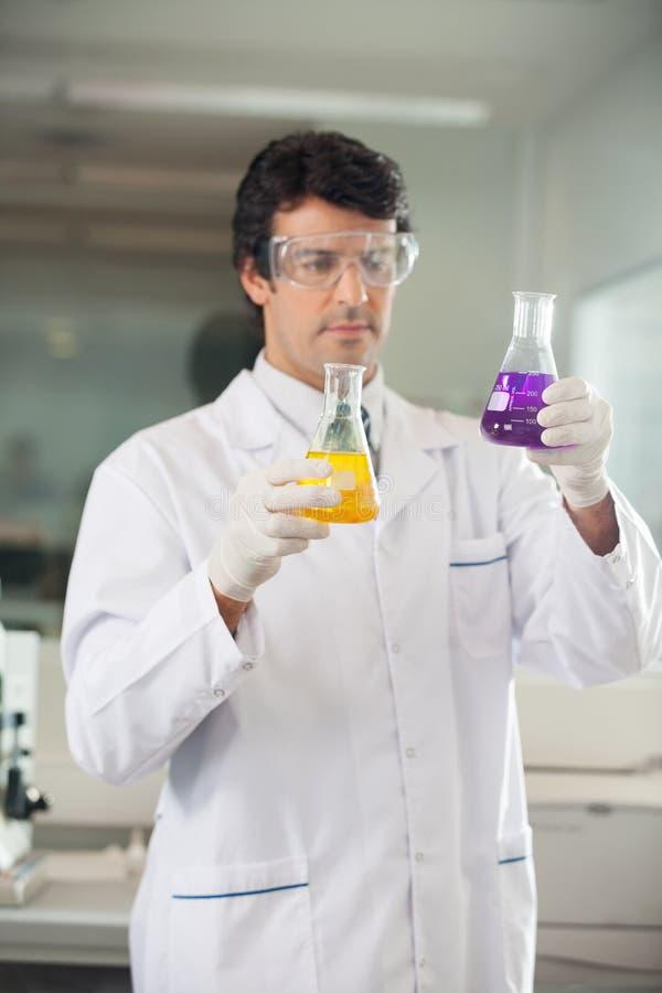 Naukowiec Egzamininuje kolby Z Różnym obrazy stock