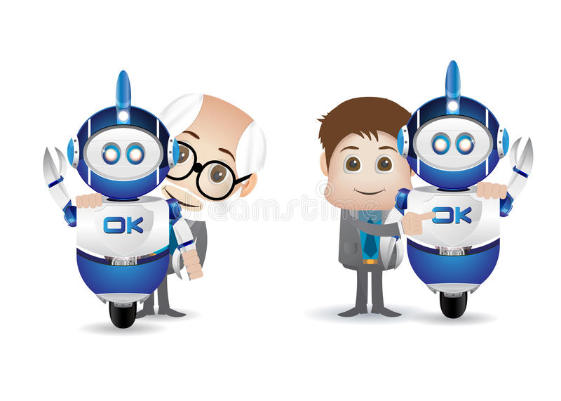 Naukowiec i robot ilustracja wektor