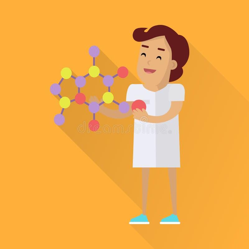 Naukowiec kobieta przy pracą ilustracja wektor