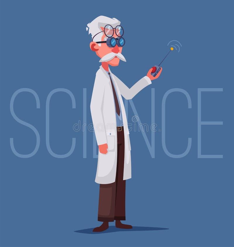 Naukowiec prowadzi naukowego eksperyment Daleki kontroler ilustracja wektor