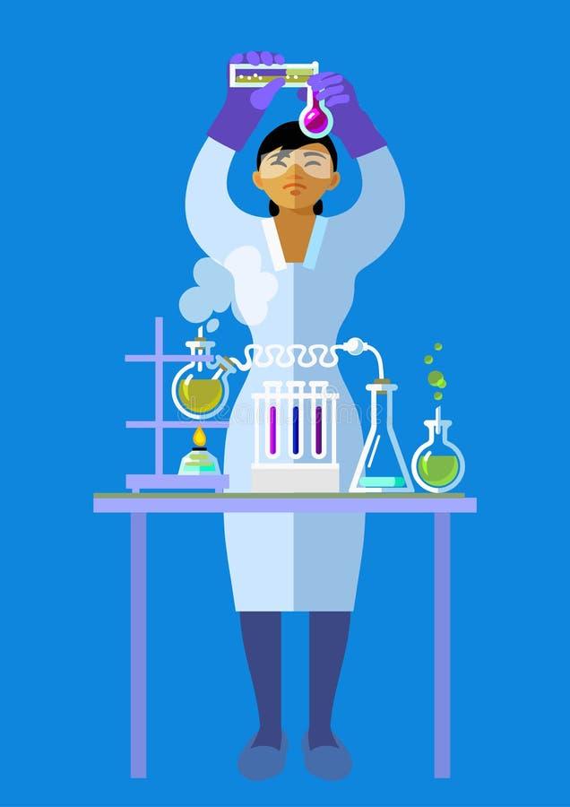 Naukowiec trzyma kolby w ochronnym szkła działaniu w chemii laboratorium w ochronnych szkłach Wektorowy mieszkanie ilustracja wektor