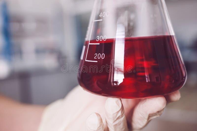 Naukowiec w rękawiczkach z szklanym naczyniem obraz stock