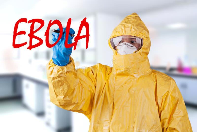 Naukowiec z ochronnym kostiumem, ebola pojęcie obrazy royalty free