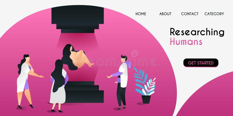 Naukowowie którym być mogą badawcze istoty ludzkie z zaawansowaną technologią w laboranckim wektorowym ilustracyjnym pojęciu, uży royalty ilustracja