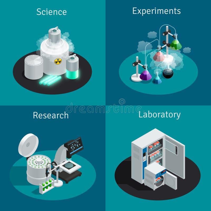 Naukowy laboratorium 2x2 projekta Isometric pojęcie ilustracja wektor
