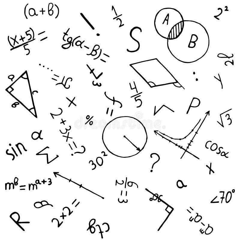 Naukowy tło z ręki rysować matematycznie formułami royalty ilustracja
