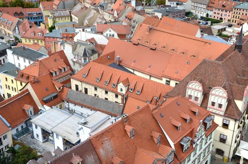 Naumburg, Germany, top view of the old central part of the medieval town. Beautiful red tiled roofs royalty free stock photography