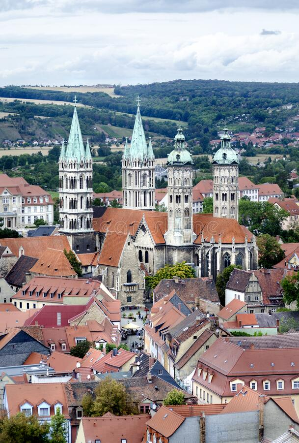 Naumburg, Germany, view of the famous Naumburg Cathedral, a UNESCO World Heritage Site. And the roofs of old houses royalty free stock photography