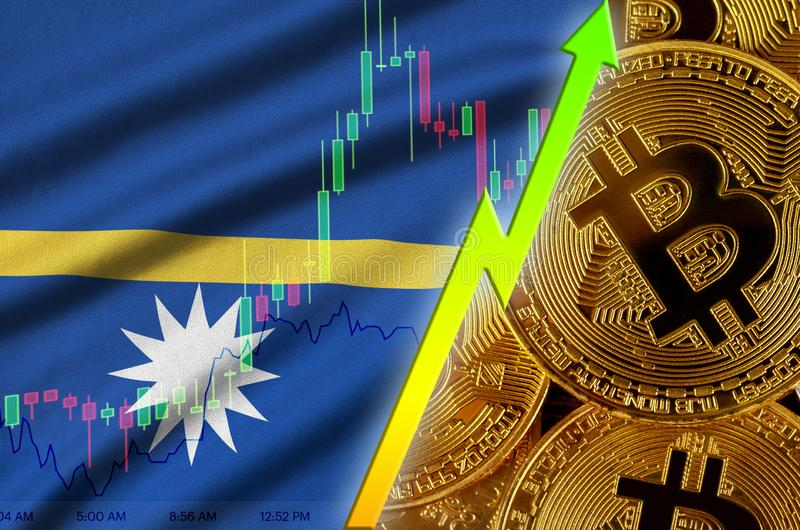 Nauru flag and cryptocurrency growing trend with many golden bitcoins royalty free illustration