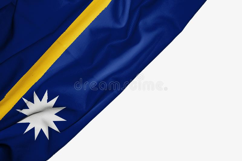 Nauru flag of fabric with copyspace for your text on white background. Banner best blue capital colorful competition country ensign free freedom glory graphic royalty free illustration