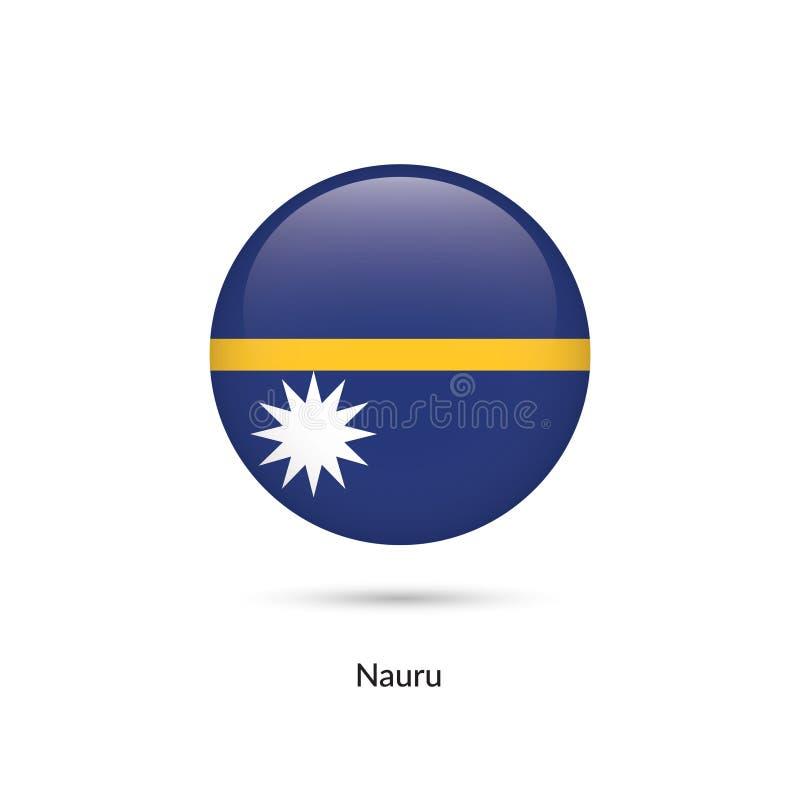 Nauru flagga - rund glansig knapp vektor illustrationer