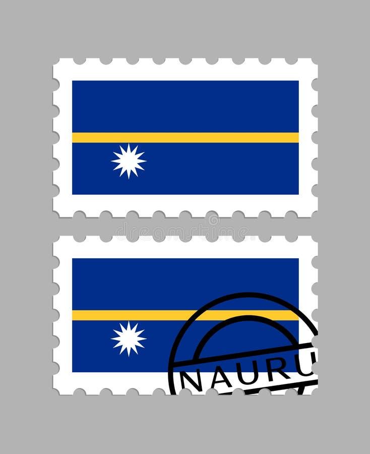 Nauru-Flagge auf Briefmarke lizenzfreie stockfotos