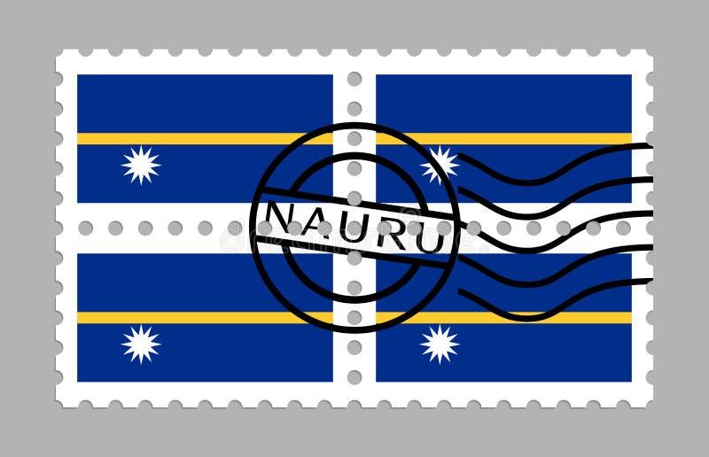 Nauru-Flagge auf Briefmarke stockfotos