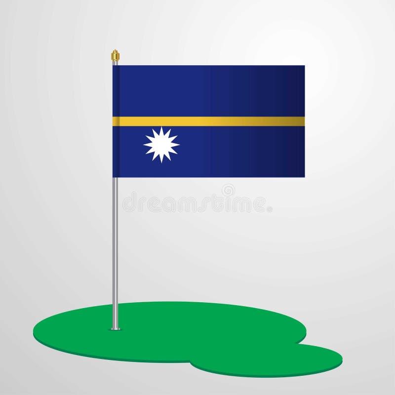 Nauru-Flagge Pole vektor abbildung