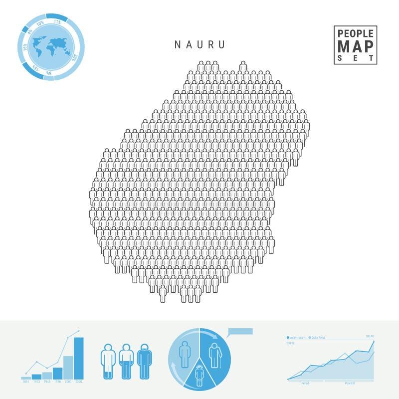 Nauru-Leute-Ikonen-Karte Stilisiertes Vektor-Schattenbild von Nauru Bevölkerungszuwachs und Altern Infographics lizenzfreie abbildung