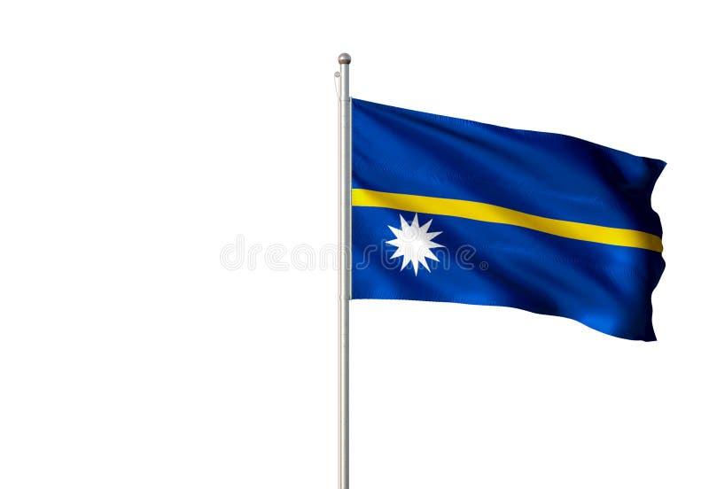 Nauru-Staatsflagge, die lokalisierte realistische Illustration 3d des weißen Hintergrundes wellenartig bewegt stock abbildung