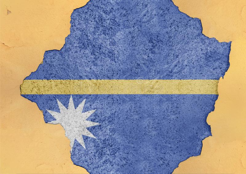 Nauru state flag broken material facade structure in big concrete. Cracked hole stock photography