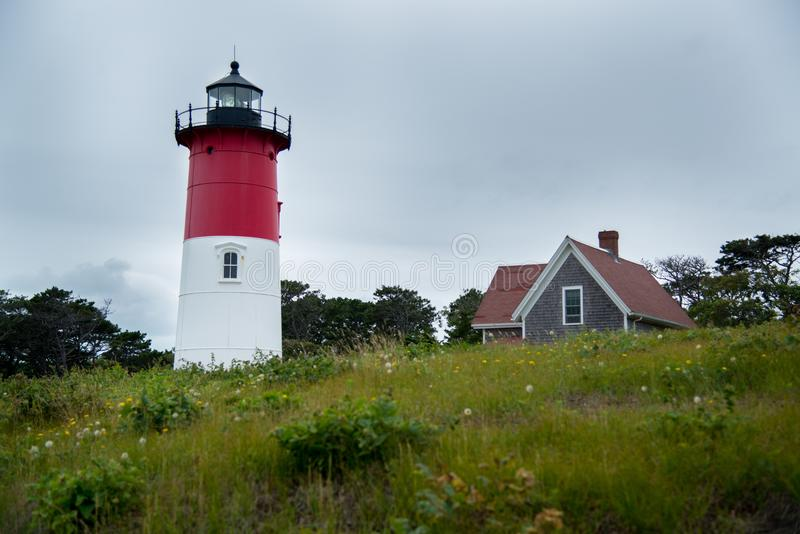 Nauset light in cape cod stock images