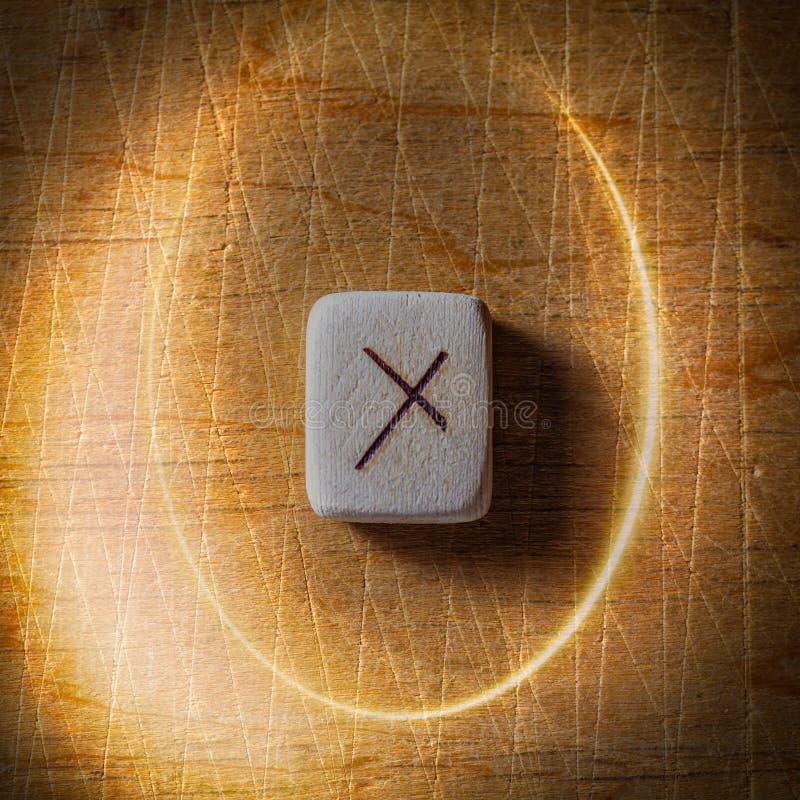 Nauthiz Handgjorda scandinavian tr?runor p? en tr?tappningbakgrund i en cirkel av ljus begrepp av f?rm?genhet royaltyfri fotografi