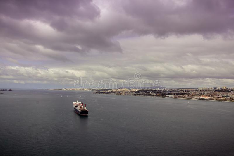 A nautic vessel in the Tagus river stock photography