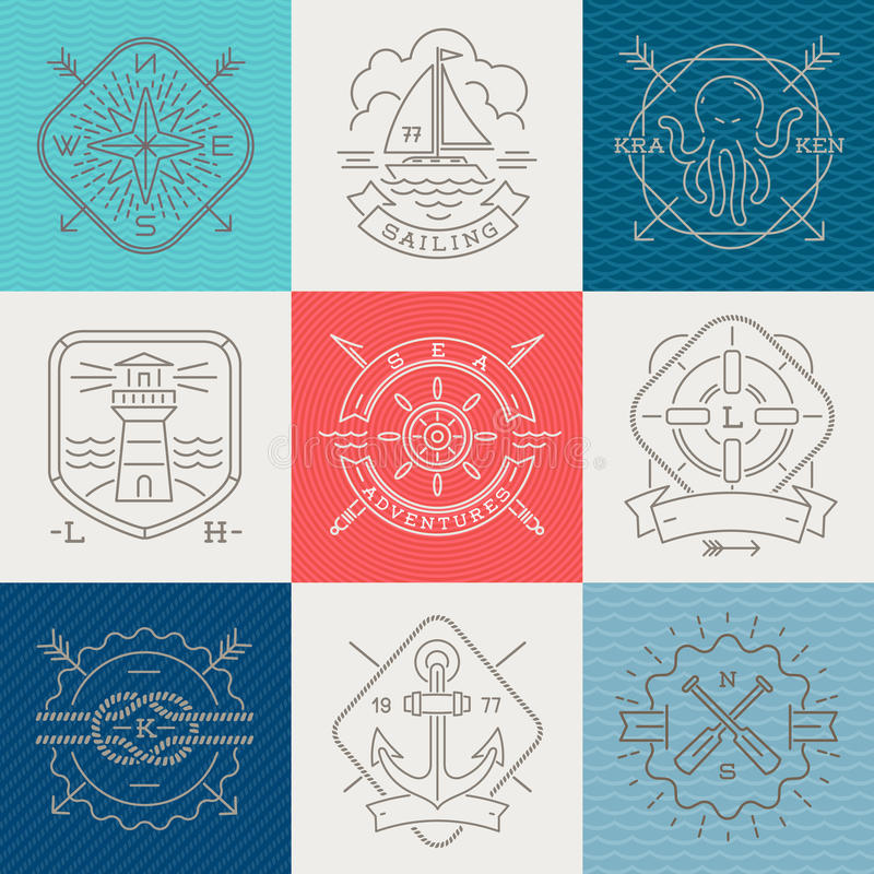 Free Nautical, Adventures And Travel Emblems Signs And Label Royalty Free Stock Photography - 52843487