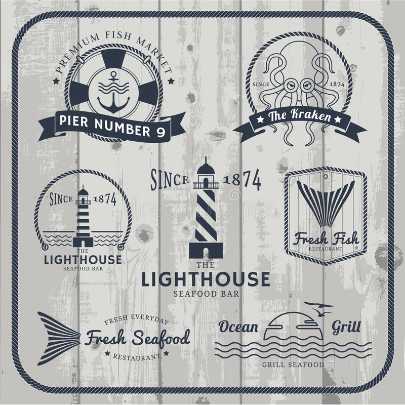 Free Nautical And Seafood Labels Set Stock Photo - 54684860