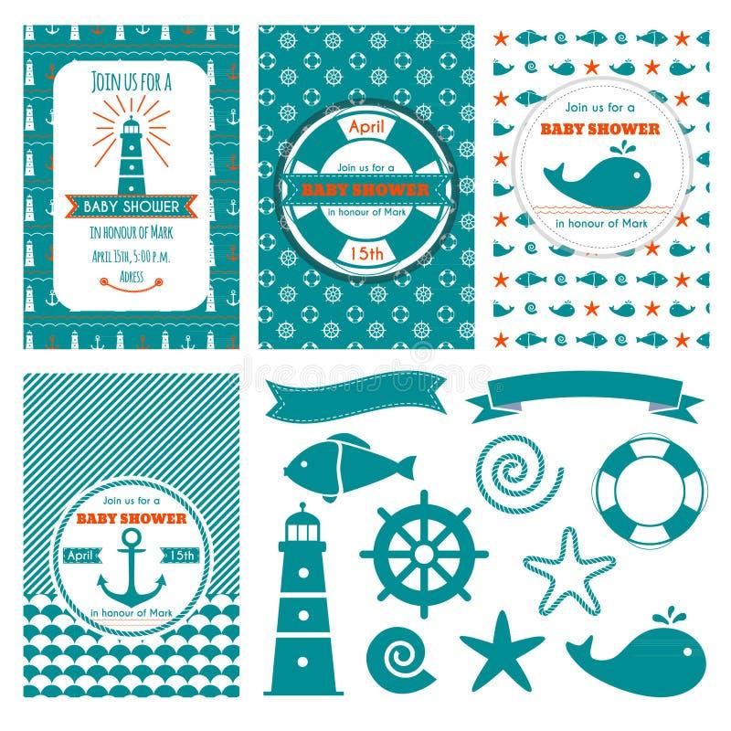 Nautical baby shower cards stock illustration