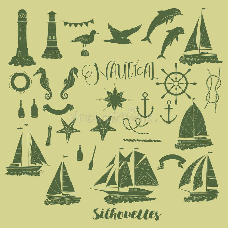 Nautical background with ships. And wheel, seahorse, sailing boats, dolphin and sea knots. Hand drawn elements for summer holidays.Travel, marin and ocean vector illustration