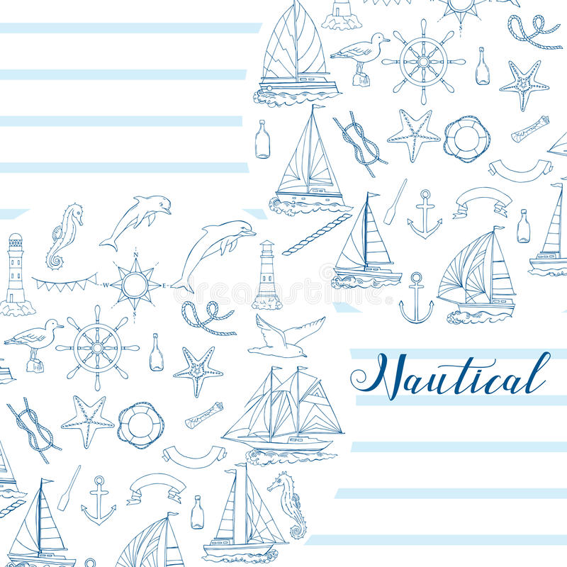 Nautical background with ships. And wheel, seahorse, sailing boats, dolphin and sea knots. Hand drawn elements for summer holidays.Travel, marin and ocean stock illustration