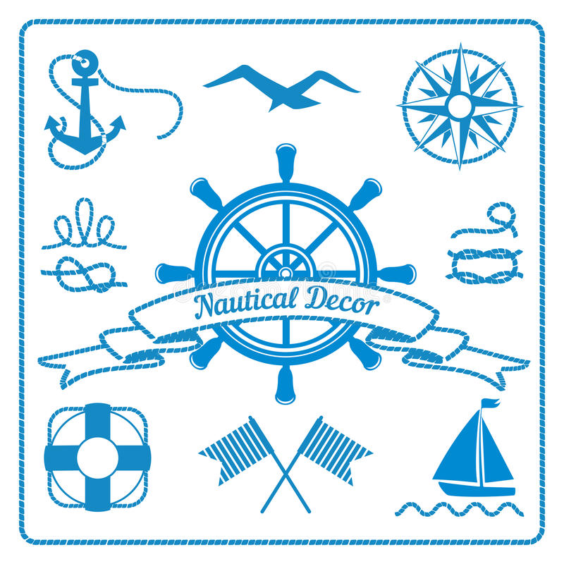 Nautical badges and decor vector illustration