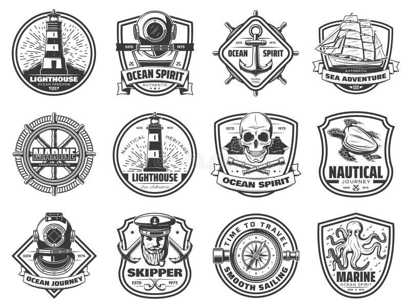 Sea anchor, sailing ship and helm. Nautical badges royalty free illustration