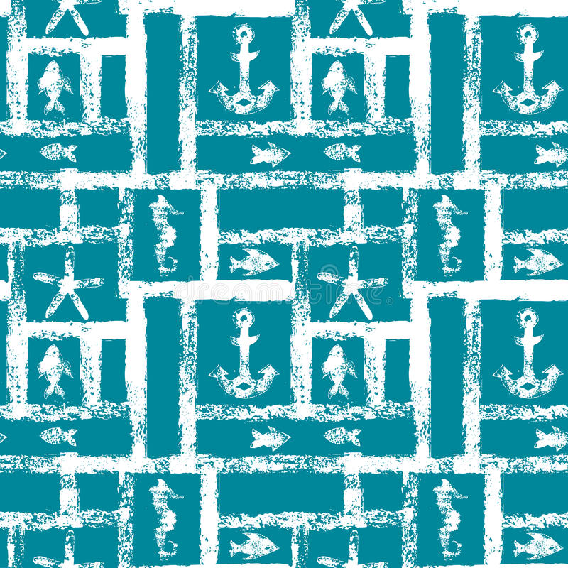 Free Nautical Blue And White Grunge Lattice With Anchor, Star, Seahorse, And Fishes, Seamless Pattern, Vector Royalty Free Stock Photos - 58206568