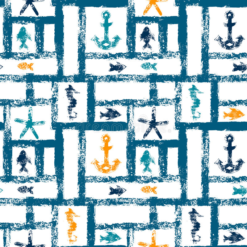 Free Nautical Blue Orange And White Grunge Lattice With Anchor, Star And Fishes, Seamless Pattern, Vector Stock Image - 56676861