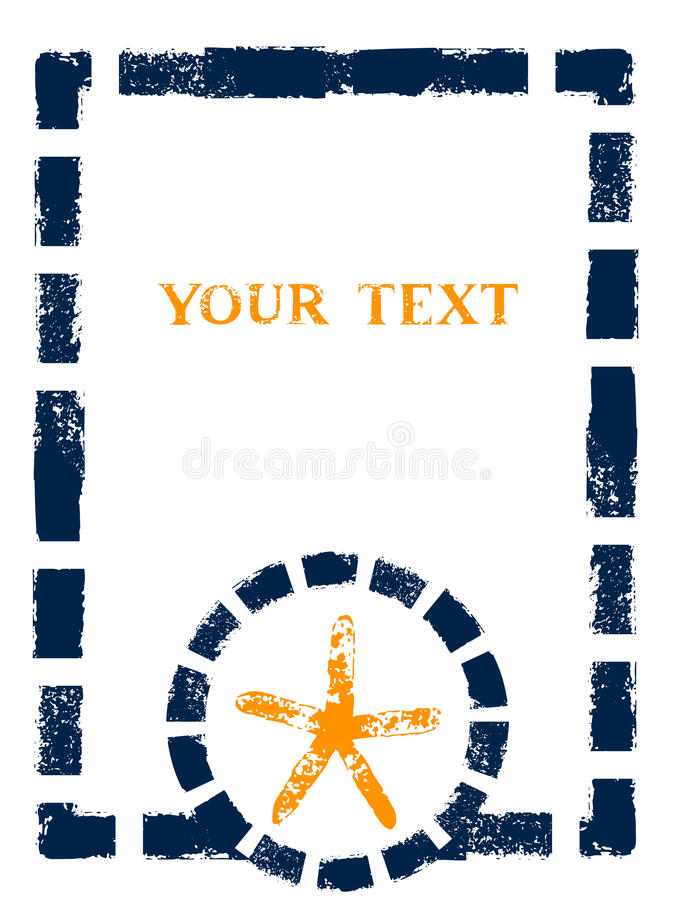 Free Nautical Blue Yellow And White Grunge Frame With Stripes, Marine Knot And Anchor, Vector Stock Photography - 55758952