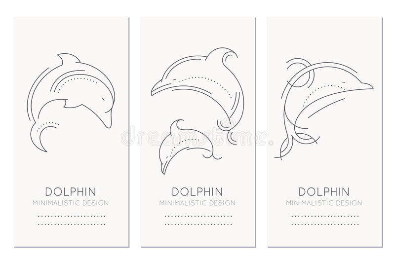 Nautical card design template with thin line style illustrations of dolphins stock illustration