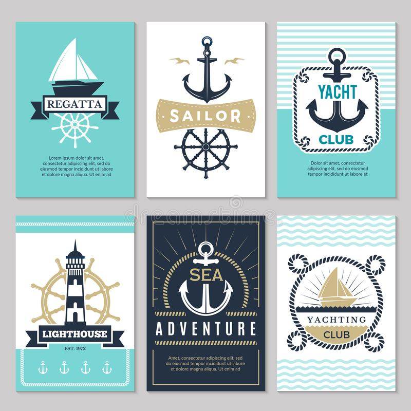 Nautical cards. Marine vintage logotypes sea rope knot anchor ship ocean decorative symbols for labels background stock illustration
