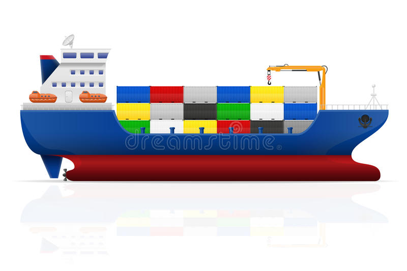 Nautical cargo ship vector illustration. Isolated on white background vector illustration