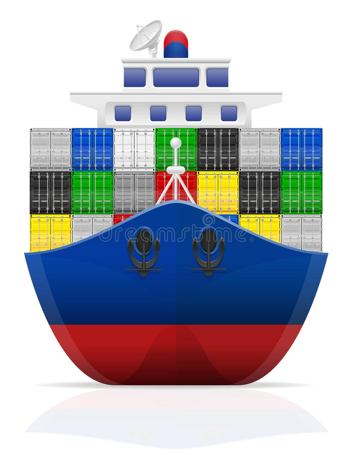 Nautical cargo ship vector illustration. On white background vector illustration