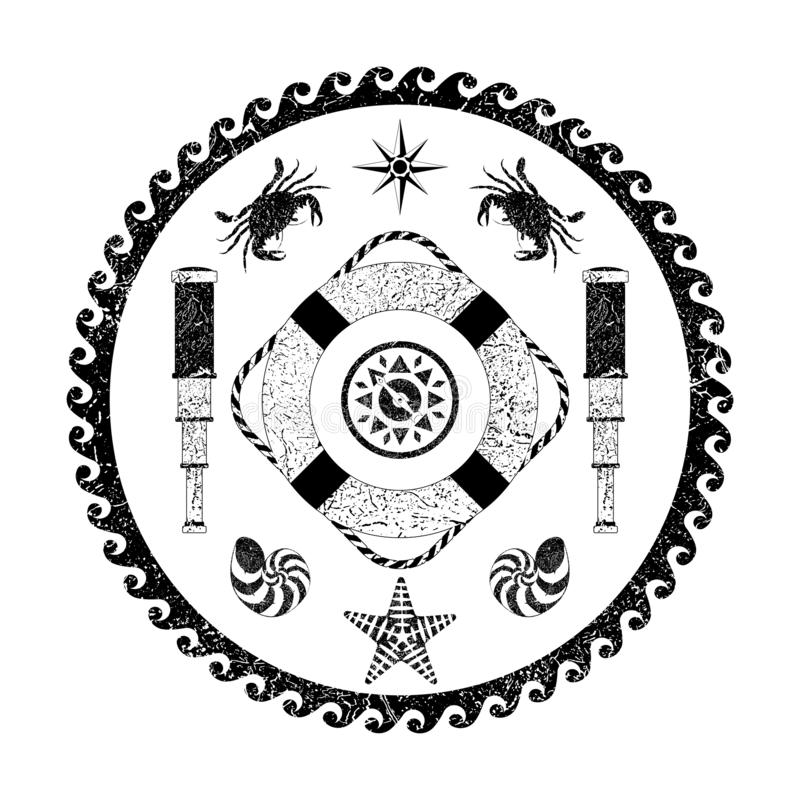 Nautical Marine circle black and white poster. Cartoon style with grunge effects stock illustration