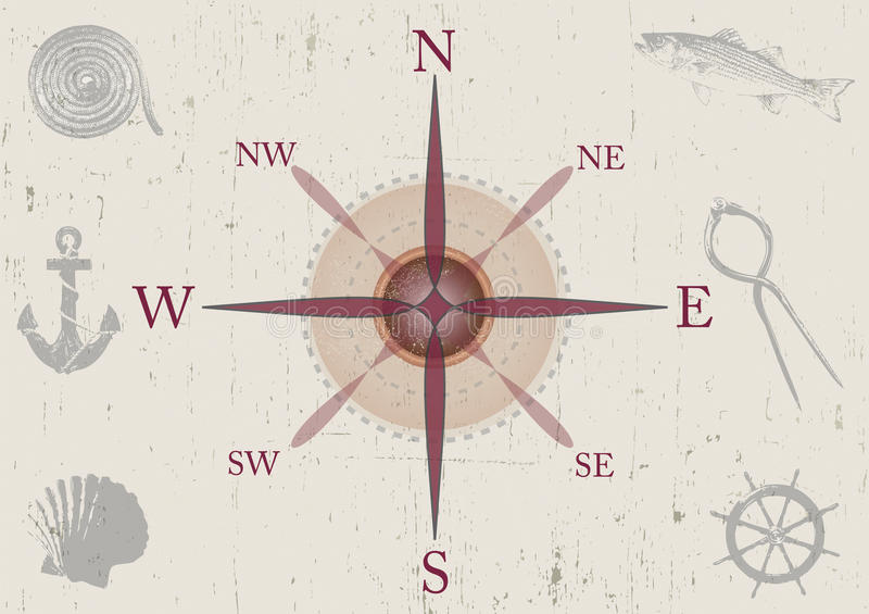 Download Nautical Compass stock illustration. Image of cartography - 20623066