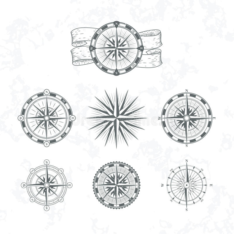 Nautical compass. Marine wind rose for maps. Vintage style vector illustrations vector illustration